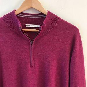 Peter Millar Burgundy Half Zip Pullover Sweater